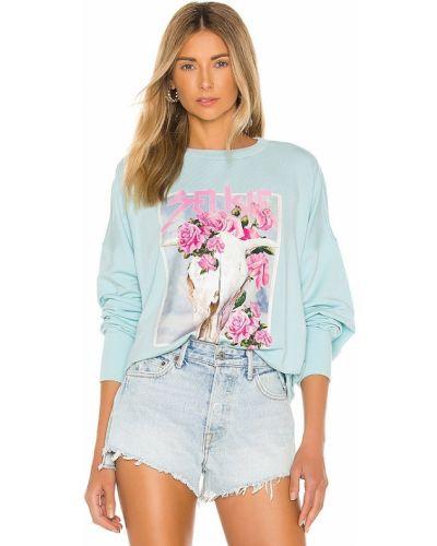 Niebieski sweter bawełniany z printem Selkie
