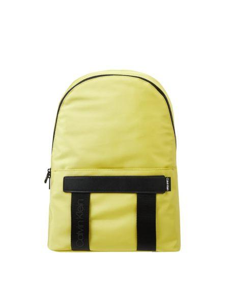 Żółty torba na ramię skórzany w paski Ck Calvin Klein