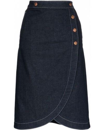 Хлопковая синяя джинсовая юбка с запахом на пуговицах See By Chloé