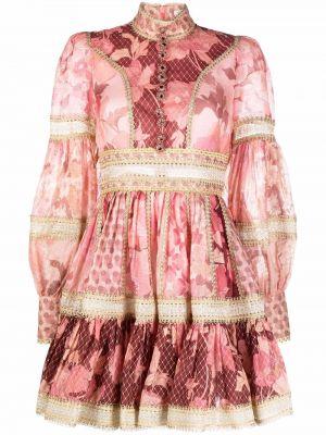 Шелковое платье миди - розовое Zimmermann