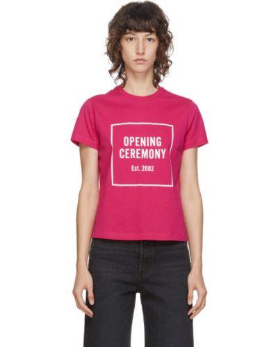 С рукавами хлопковая розовая рубашка с воротником Opening Ceremony