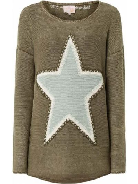 Sweter z haftem - zielony Lieblingsstück