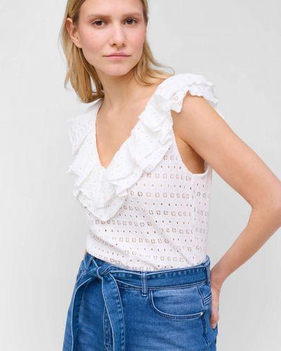 Ażurowy t-shirt bez rękawów z falbanami Orsay