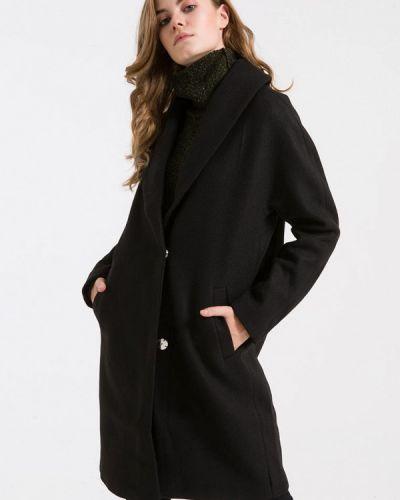 Черное пальто с капюшоном Ltb