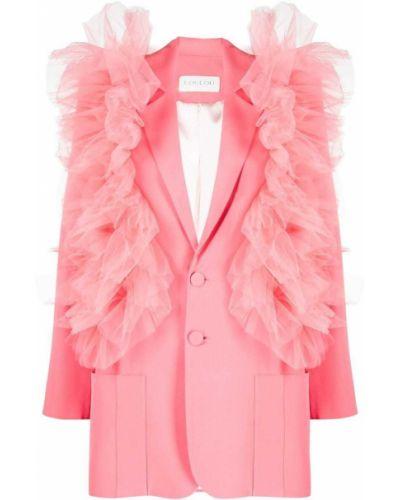 Однобортный розовый удлиненный пиджак на пуговицах Loulou