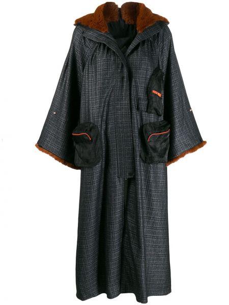 Черное длинное пальто оверсайз с капюшоном Quetsche