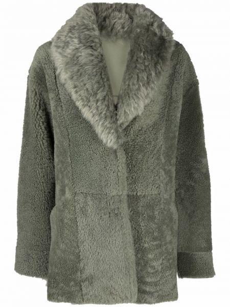 Зеленое пальто с воротником Yves Salomon Meteo