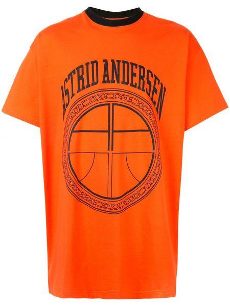 Pomarańczowy klasyczna koszula bawełniany oversize Astrid Andersen