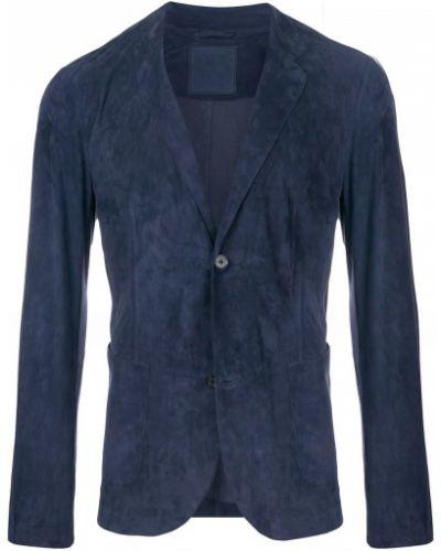 Классический пиджак замшевый темно-синий Desa 1972