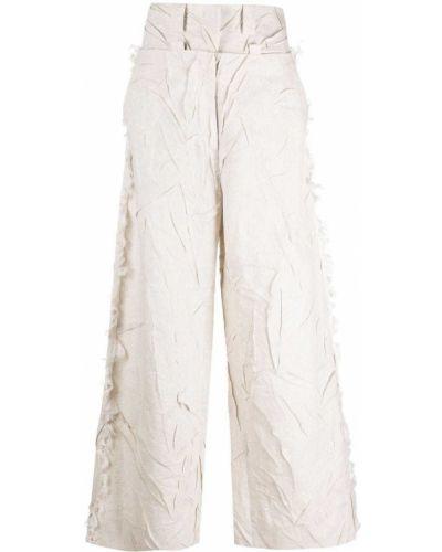 Шелковые бежевые брюки свободного кроя Krizia