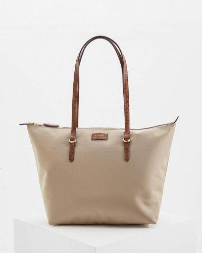 Бежевая сумка шоппер Lauren Ralph Lauren