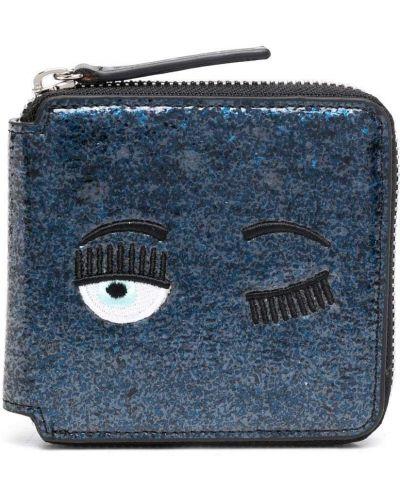 Синий кожаный кошелек с карманами Chiara Ferragni Kids