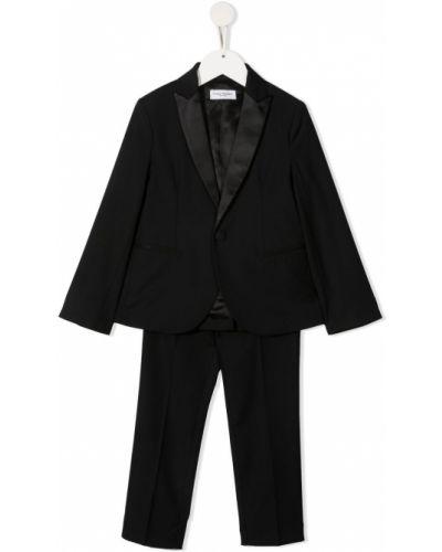 Klasyczny czarny garnitur slim z długimi rękawami Paolo Pecora Kids
