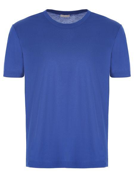 Хлопковая синяя базовая футболка с круглым вырезом Zimmerli