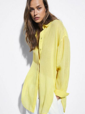 Желтая рубашка с длинными рукавами Massimo Dutti
