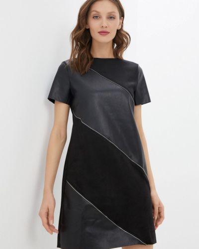 Кожаное черное платье Zolla