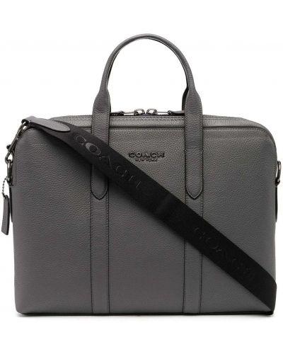 Серый кожаный портфель с карманами Coach