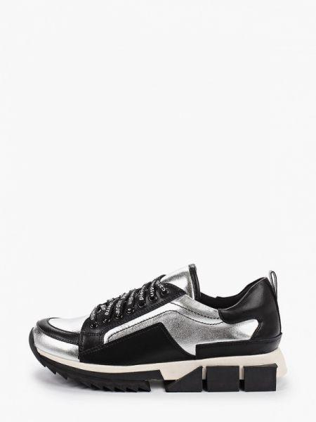Серебряные кроссовки из натуральной кожи Pierre Cardin