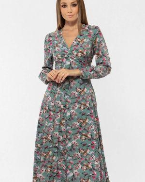 Платье с запахом зеленый Vladi Collection