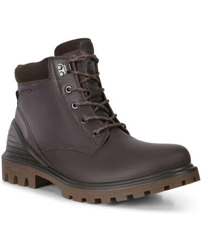 Коричневые кожаные ботинки на шнуровке Ecco