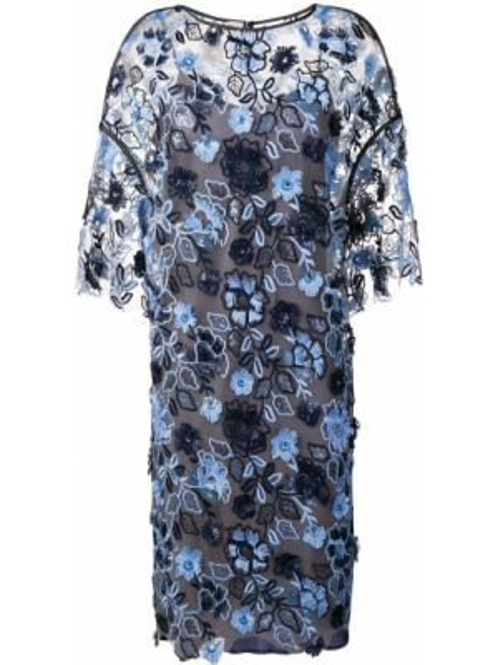 Niebieska sukienka mini krótki rękaw z haftem Antonio Marras
