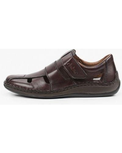 Коричневые кожаные сандалии Rieker