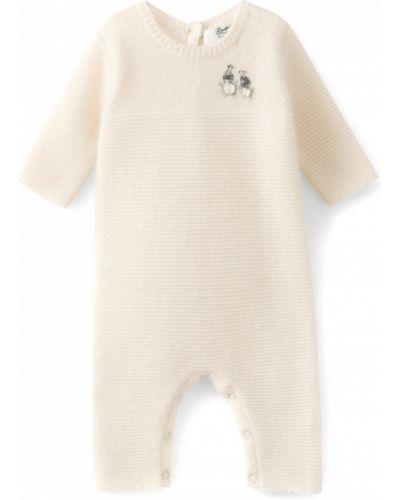 Кашемировый бежевый комбинезон с вышивкой на пуговицах Bonpoint