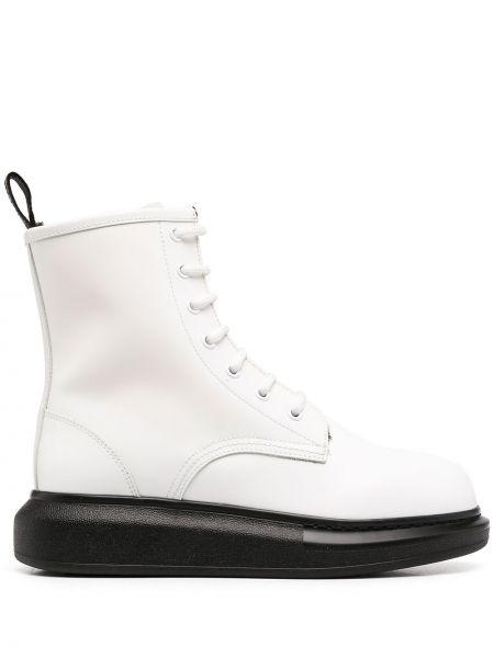 Skórzany biały buty obcasy zasznurować przeoczenie Alexander Mcqueen