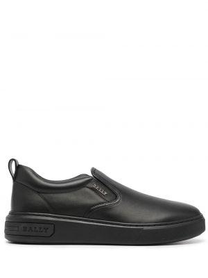 Черные кожаные слипоны эластичные Bally