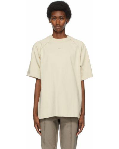 Beżowy t-shirt bawełniany z haftem Ader Error