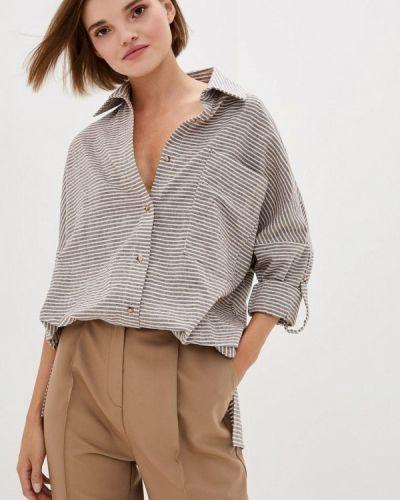 С рукавами бежевая блузка с длинным рукавом 7arrows