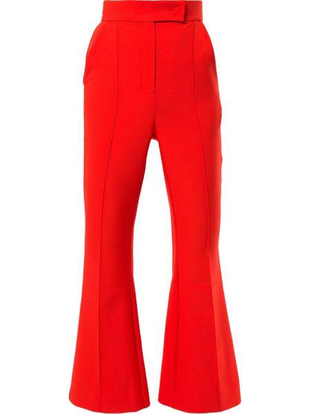Красные расклешенные укороченные брюки с поясом Dalood