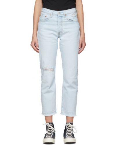 Prosto niebieski jeansy do kostek z kieszeniami z łatami Levi's