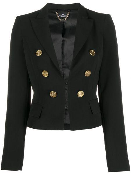 Приталенная сатиновая черная длинная куртка на кнопках Elisabetta Franchi