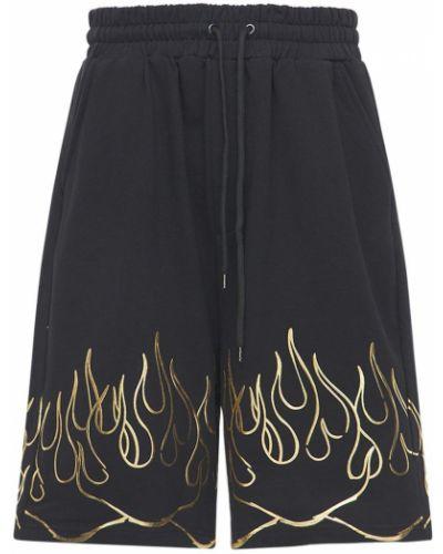 Czarne szorty z printem bawełniane Ihs