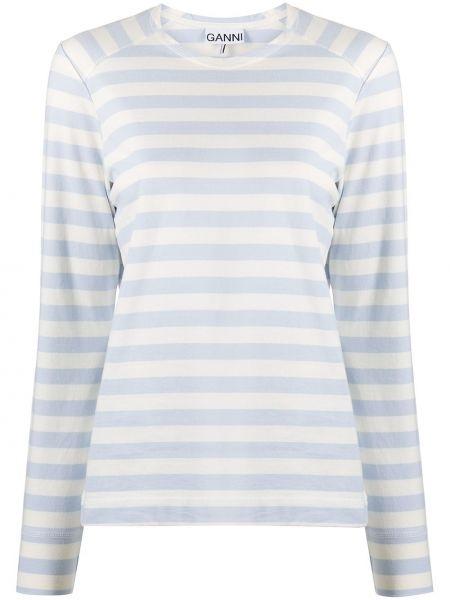 T-shirt z długimi rękawami w paski bawełniany Ganni