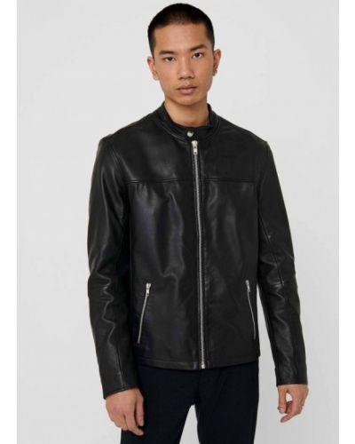 Кожаная куртка - черная Only & Sons