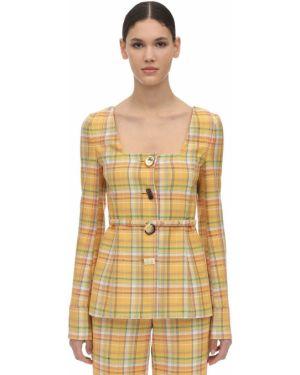 Пиджак квадратный с декольте на кнопках с поясом Rejina Pyo