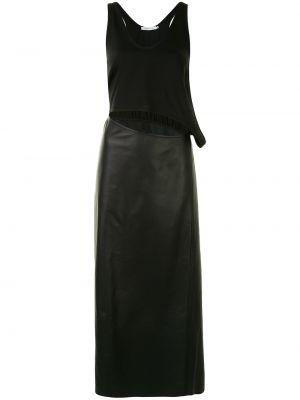 Кожаное платье миди - черное Christopher Esber