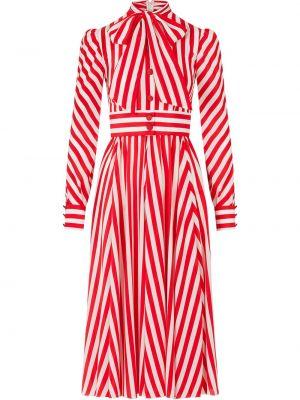Шелковое красное платье-рубашка с бантом Dolce & Gabbana