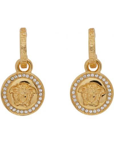 С ромбами серьги-гвоздики с бриллиантом золотые Versace