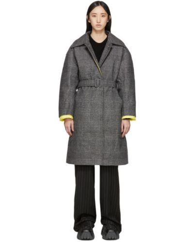 Коралловое шерстяное стеганое пальто с воротником с капюшоном Ienki Ienki