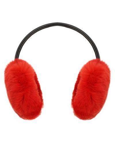 Красные меховые наушники из кролика с декоративной отделкой Yves Salomon