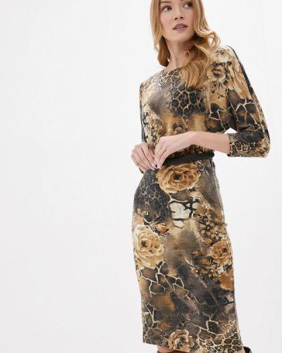 Коричневое прямое платье Арт-Деко