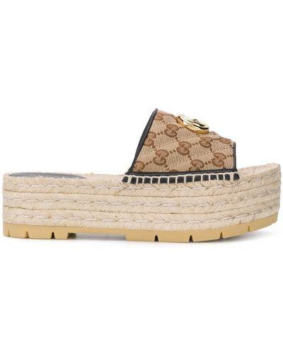 Кожаные открытые эспадрильи с открытым носком Gucci