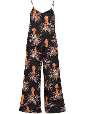 Czarna piżama bawełniana z printem Desmond & Dempsey