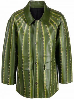 Zielony płaszcz skórzany Doublet