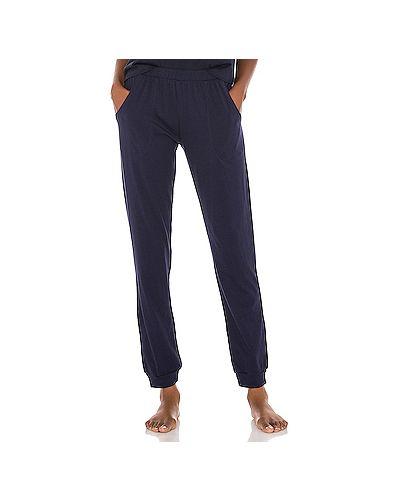Хлопковые синие брюки на резинке с карманами Eberjey