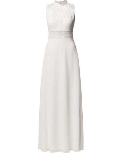 Biała sukienka wieczorowa z haftem bez rękawów V.m.
