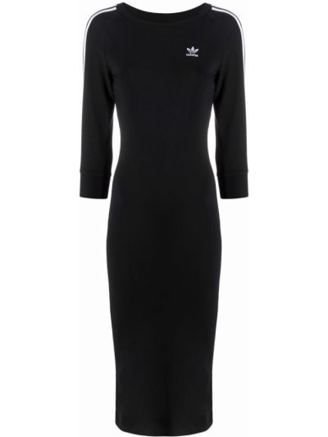 Хлопковое платье миди - черное Adidas
